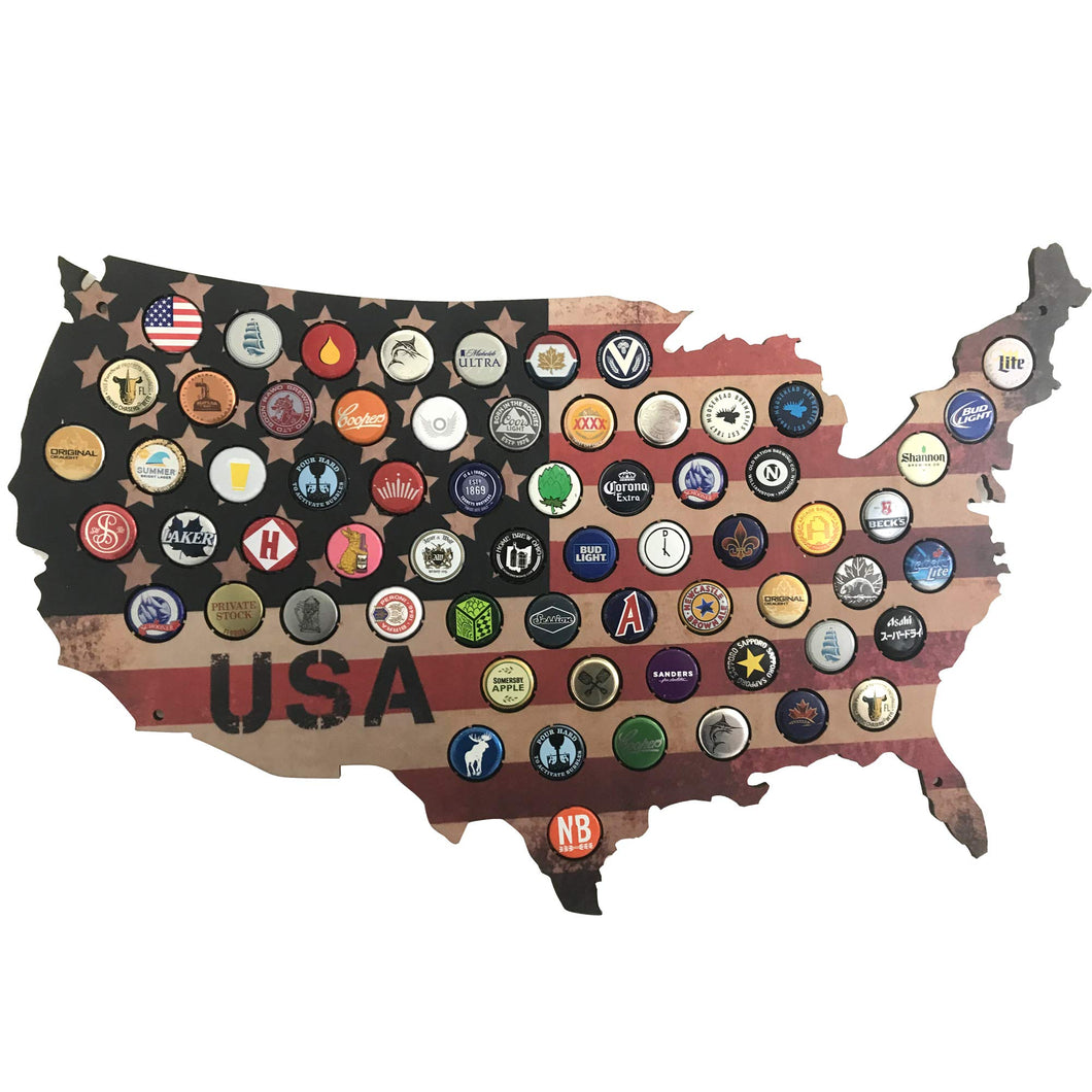 USA Beer Cap Map - Rustic Stars and Stripes Design for Craft Beer Collectors