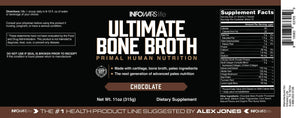 Infowars Life - Ultimate Bone Broth (15 Servings, Chocolate) – Bone Broth Protein Powder with Collagen, Turmeric Root, Chaga Mushroom, Bee Pollen & Other Ancient Super-nutrients - Omigod, Dibs!™
