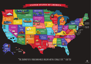 Scratch Off Map of The United States Travel Map - 17x24 in