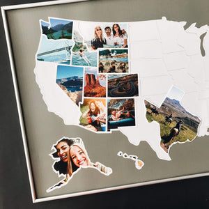 USA Photo Map - 50 States Travel Map - 24 x 36 in