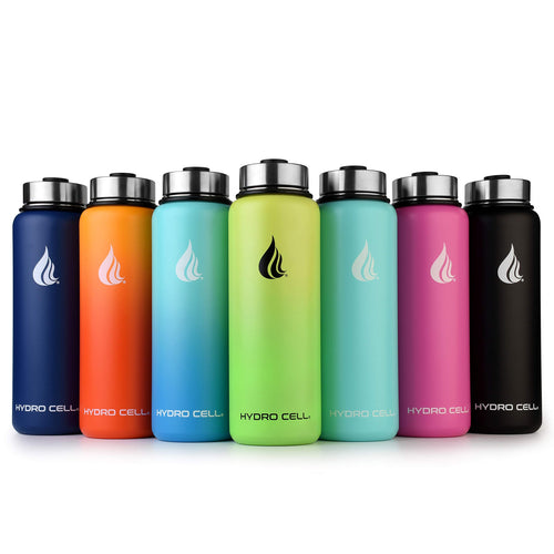 HYDRO CELL Stainless Steel Water Bottle w/Straw & Wide Mouth Lids (40oz 32oz 24oz 18oz) - Omigod, Dibs!™