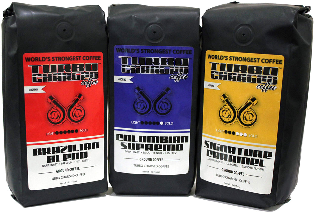 World's Strongest Coffee - Turbo Charged Coffee - 3 lbs - Variety Pack - 3 Strong Roasts … Race Pack (Dark Roast + Caramel Flavor), 3 x 16oz bags