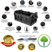 Load image into Gallery viewer, TrunkCratePro Collapsible Portable Multi Compartments Trunk Organizer, Black
