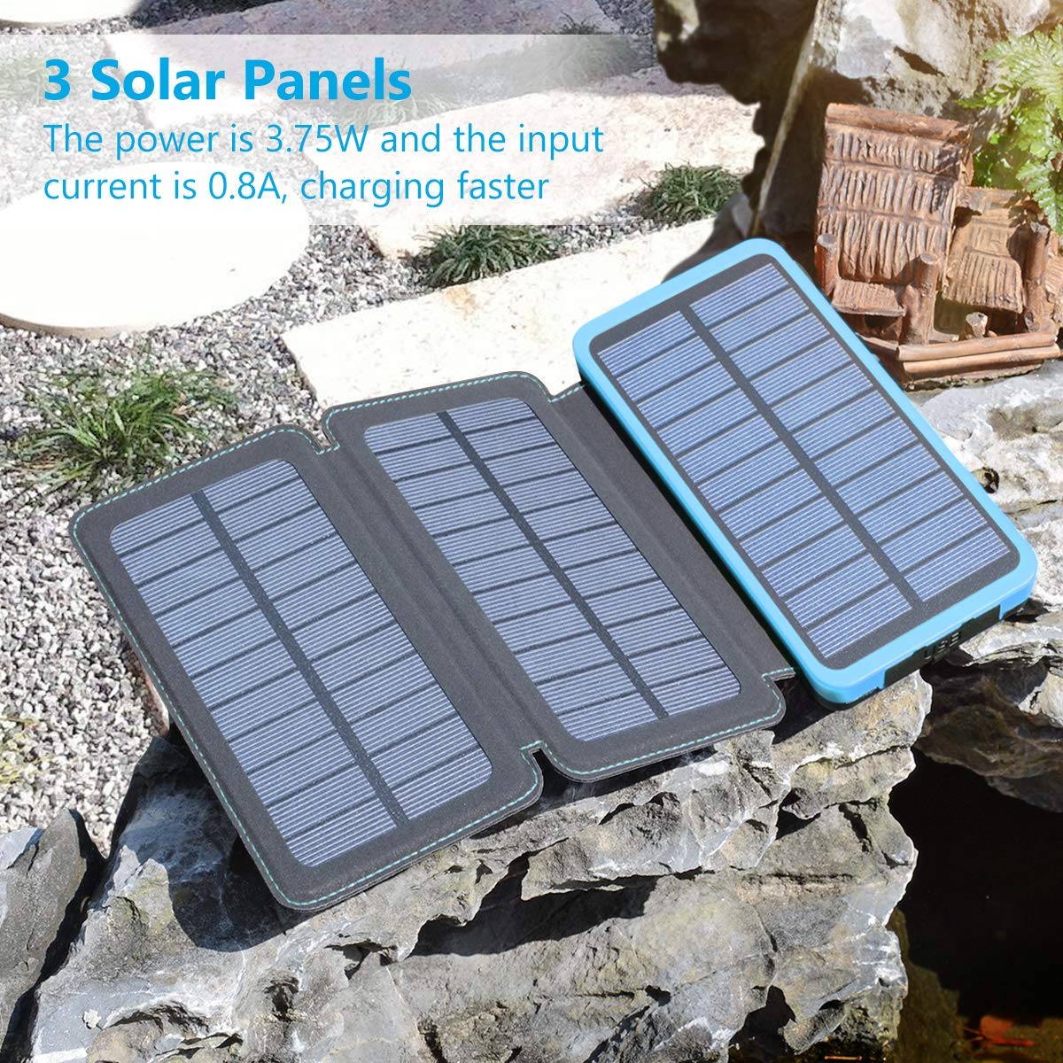 Tablets and More FEELLE Portable Charger External Battery Pack with Dual USB Ports Waterproof Phone Charger for Smart Phones Solar Charger 24000mAh