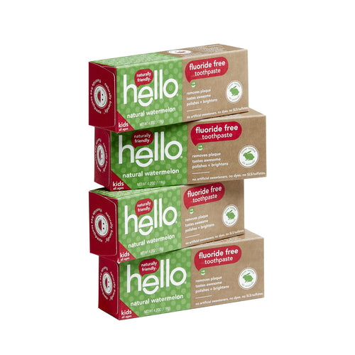 Hello Oral Care Kids Fluoride Free Toothpaste for 3 Months+, Gluten Free and SLS Free, Natural Watermelon, 4 Count - Omigod, Dibs!™