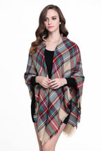 Load image into Gallery viewer, Buttons and Pleats Women's Plaid Blanket Shawl Scarf