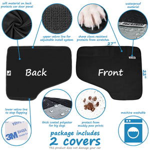Pet Car Door Covers for Dogs - Waterproof Interior Protectors Window Panel Guards Shields from Doggie Scratching Drooling Vehicles Trucks SUV Inside Front Seat Side Safety Cloth - Omigod, Dibs!™