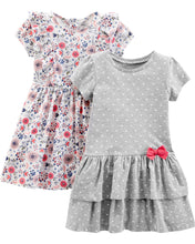 Load image into Gallery viewer, Simple Joys by Carter's Girls' Toddler 2-Pack Short-Sleeve and Sleeveless Dress Sets