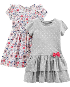 Simple Joys by Carter's Girls' Toddler 2-Pack Short-Sleeve and Sleeveless Dress Sets