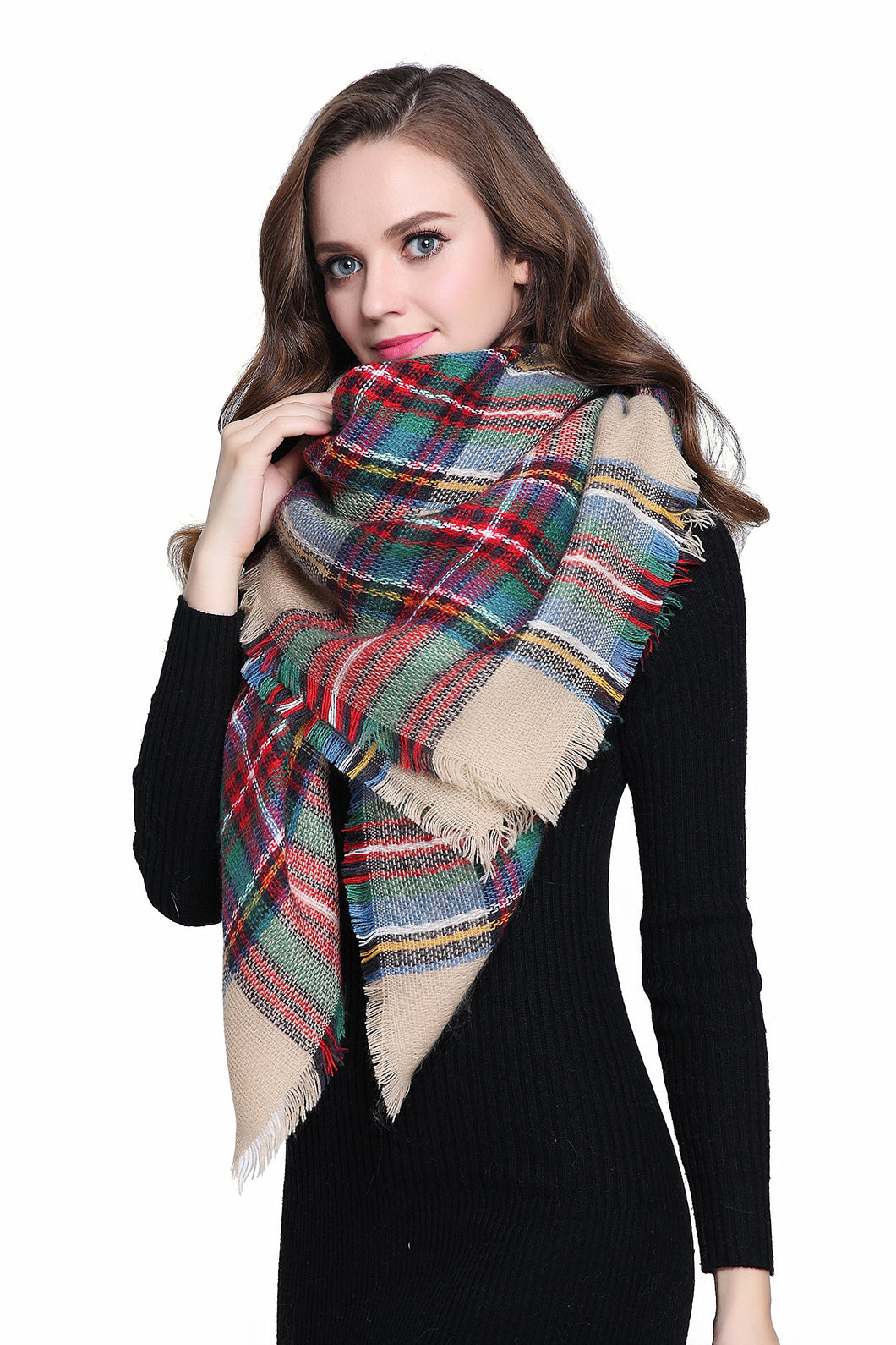 Buttons and Pleats Women's Plaid Blanket Shawl Scarf
