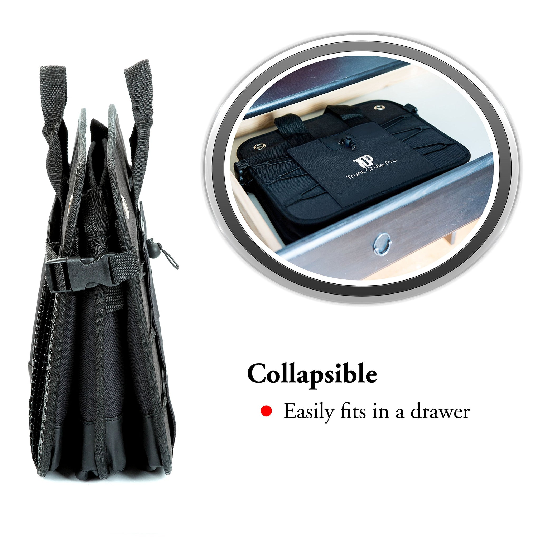 TrunkCratePro Collapsible Portable Multi Compartments Trunk Organizer Black