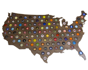 Giant USA Beer Cap Map with Dark Walnut Stain - 3ft Wide - Craft Beer Cap Holder (Dark Stain)