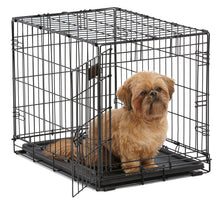 Load image into Gallery viewer, MidWest iCrate Folding Metal Dog Crate w/ Divider Panel, Floor Protecting Feet & Leak-Proof Dog Tray | 24L x 18W x 19H Inches, Small Dogs