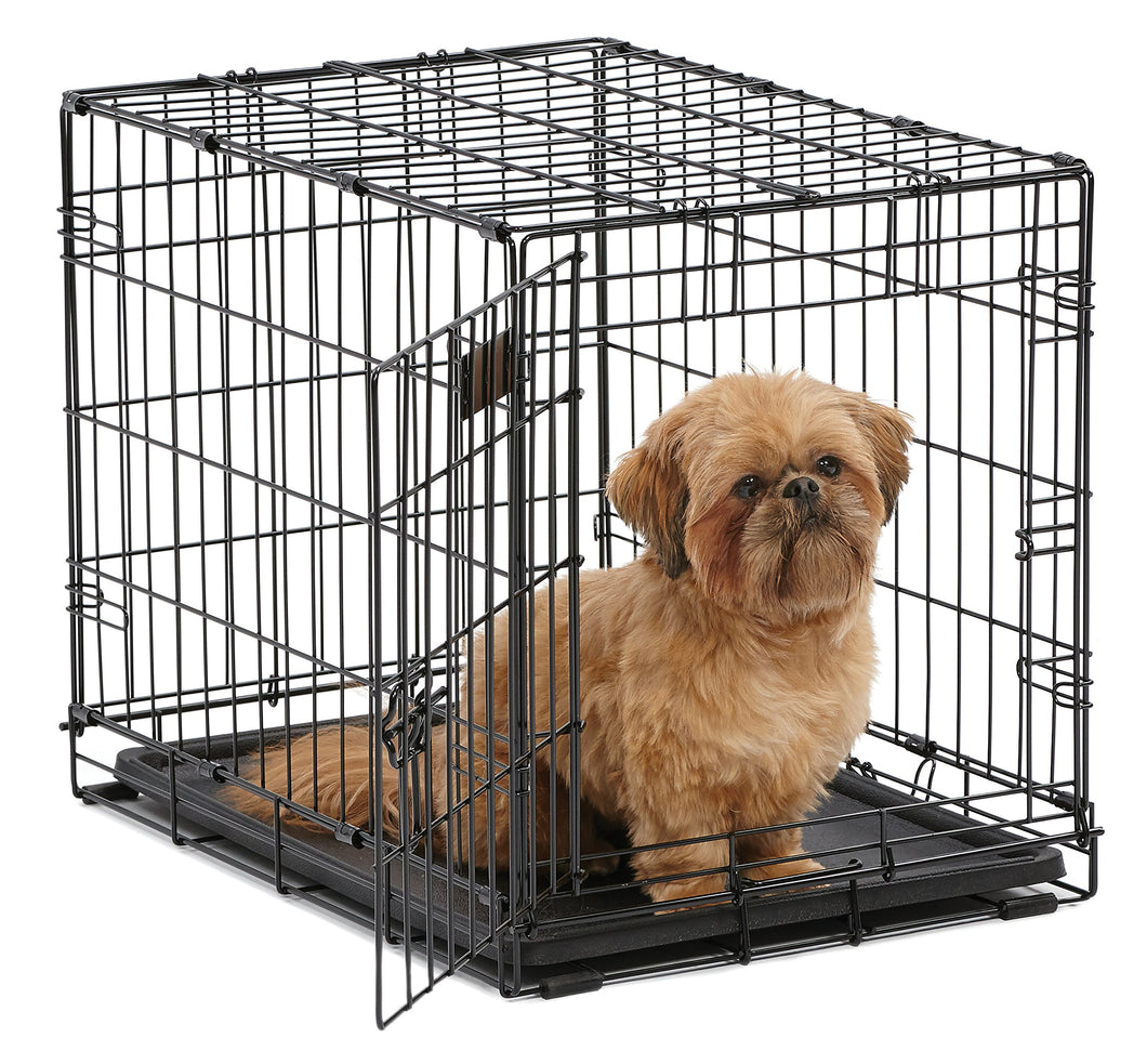 MidWest iCrate Folding Metal Dog Crate w/ Divider Panel, Floor Protecting Feet & Leak-Proof Dog Tray | 24L x 18W x 19H Inches, Small Dogs