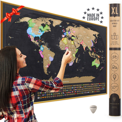 XL Scratch Off Map of The World with Flags - Made in Europe 35 x 23.5 in