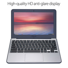 "Load image into Gallery viewer, ASUS Chromebook C202SA-YS02 11.6"" Ruggedized and Water Resistant Design with 180 Degree (Intel Celeron 4 GB, 16GB eMMC, Dark Blue, Silver) - Omigod, Dibs!™"