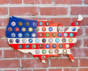 Striped USA Beer Cap Map with Red White and Blue Stripes - Holds 50 Craft Beer Bottle Caps