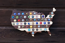 Load image into Gallery viewer, Striped USA Beer Cap Map - Holds 50 Craft Beer Bottle Caps - Guy Gifts (Dark Stripes)