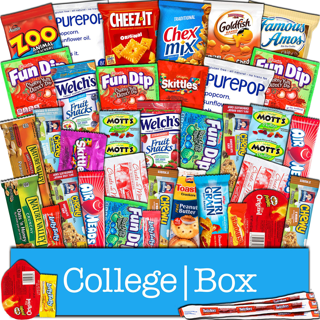 CollegeBox Snacks 40 Count Ultimate Care Package Variety Box Gift Pack Assortment Basket Bundle Mixed Bulk Sampler Treats Bars Chips Candy Cookies College Finals Students Office Trips Father's Day Boy - Omigod, Dibs!™