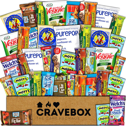 CraveBox Healthy Snacks 40 Count Care Package Variety Box Gift Pack Assortment Basket Bundle Mixed Bulk Sampler Natural Bars Nuts Fruit Chews College Finals Students Office Trips Father's Day Boy - Omigod, Dibs!™