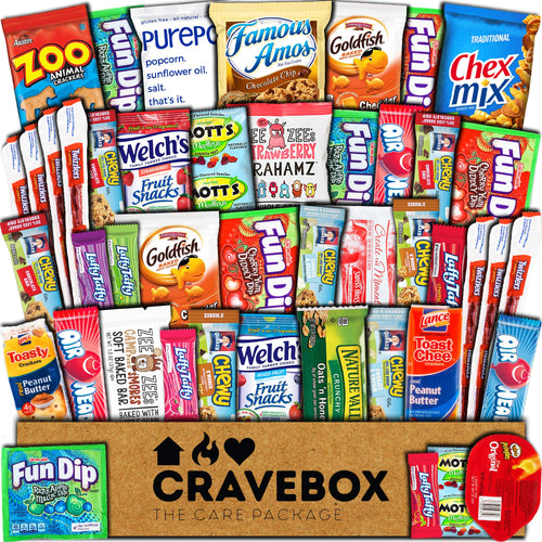 CraveBox Snacks 45 Count Ultimate Care Package Variety Box Gift Pack Assortment Basket Bundle Mixed Bulk Sampler Treats Bars Chips Candy Cookies College Finals Students Office Trips Father's Day Boy - Omigod, Dibs!™