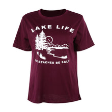 Load image into Gallery viewer, Lake Life Cuz Beaches Be Salty Burgundy T-Shirt