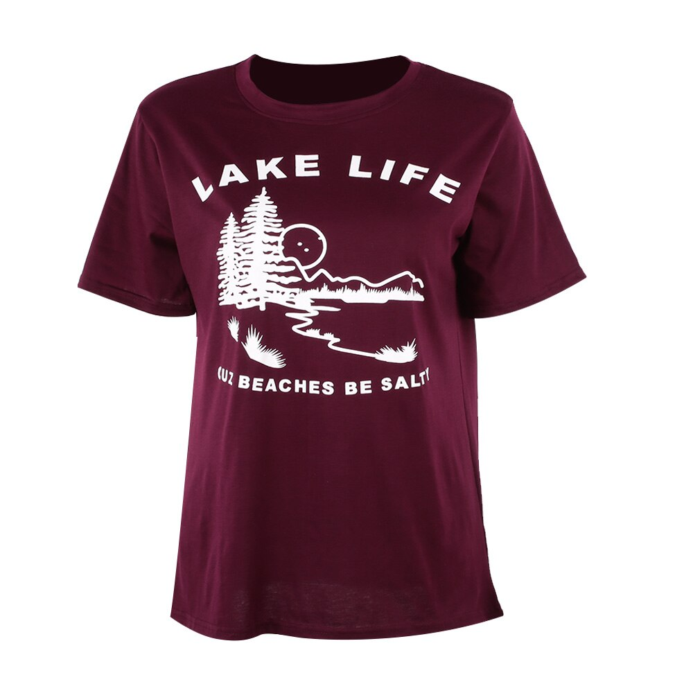 Lake Life Cuz Beaches Be Salty Burgundy T-Shirt