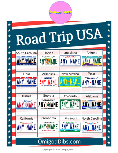 Omigod, Dibs!™ Road Trip USA Printable License Plate Bingo Game - EASY