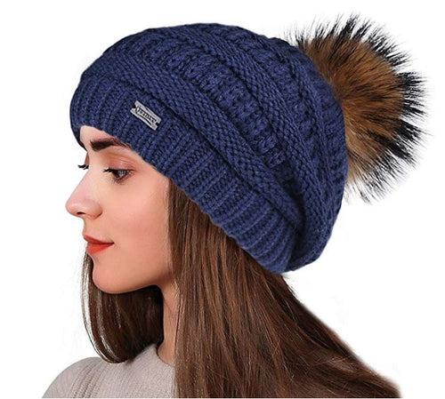 Winter Real Fur Pom Beanie Hat