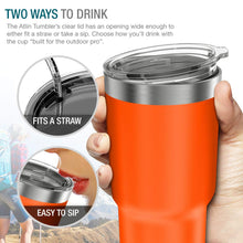 Load image into Gallery viewer, Atlin Tumbler [30 oz. Double Wall Stainless Steel Vacuum Insulation] Travel Mug [Crystal Clear Lid] Water Coffee Cup [Straw Included]