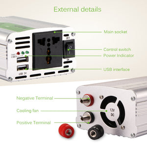 500W Power Inverter 12VDC - 220VAC 50Hz with Universal Outlet and Dual USB Ports