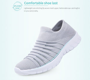 Women's Breathable Ribbed Fly Weave Slip-On Shoes