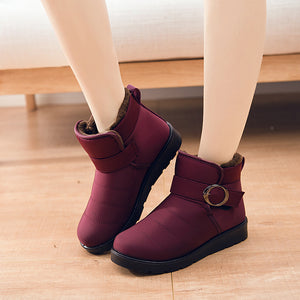 Women's Plush Winter Buckle Ankle Boots