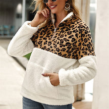 Load image into Gallery viewer, Women's Faux Wool Leopard Print Quarter Zipper Pullover Sweater