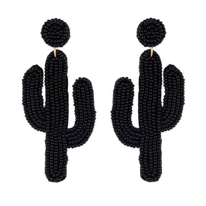 Large Beaded Cactus Earrings