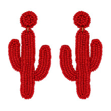 Load image into Gallery viewer, Large Beaded Cactus Earrings