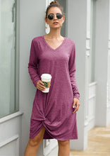 Load image into Gallery viewer, Knotted V-Neck Jersey Dress