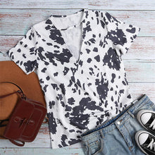 Load image into Gallery viewer, Cow Print Hollow Out Short Sleeve Shirt