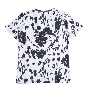 Cow Print Hollow Out Short Sleeve Shirt