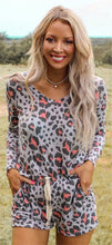 Load image into Gallery viewer, Women's Leopard Print Long Sleeve Top and Shorts Set