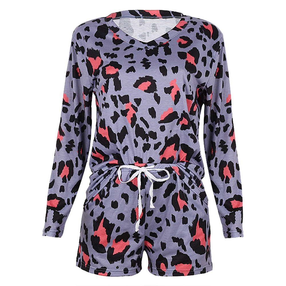 Women's Leopard Print Long Sleeve Top and Shorts Set