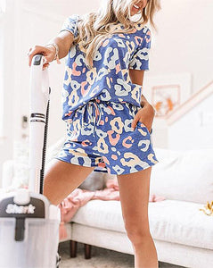 Colorful Leopard Print Shirt and Short Set