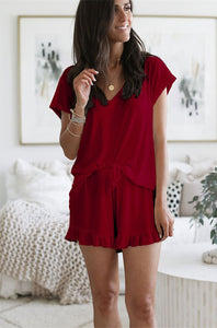 Women's V-Neck Top With Shorts Two Piece Set