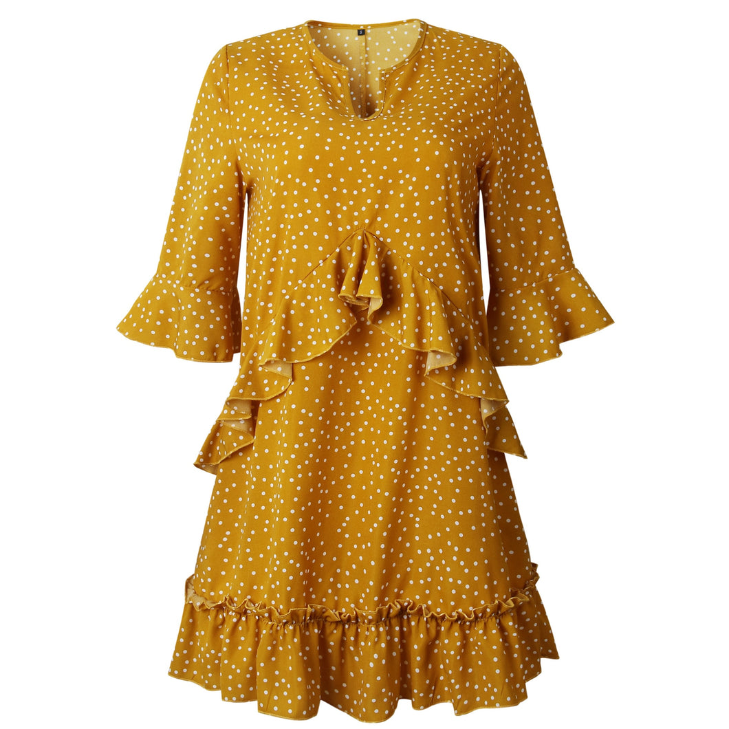 Casual Cascading Petal Sleeve Turn-Down Collar Pleated Polka Dot Dress