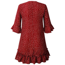 Load image into Gallery viewer, Casual Cascading Petal Sleeve Turn-Down Collar Pleated Polka Dot Dress
