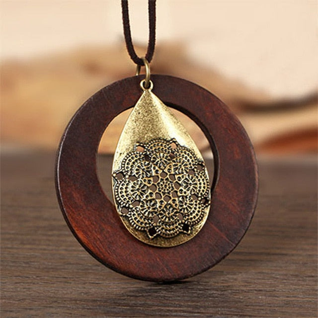 Wooden Pendants Geometric Pattern Metal Tear Drop