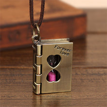 Load image into Gallery viewer, Women's Locket Necklace - Book w/ Hourglass
