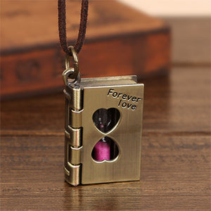 Women's Locket Necklace - Book w/ Hourglass
