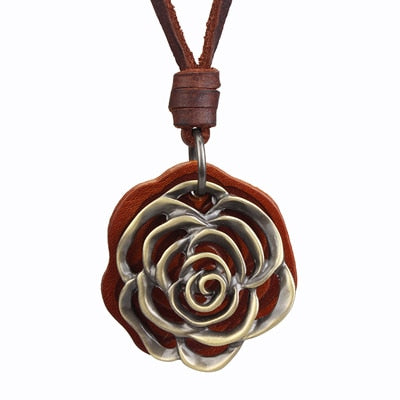 Metal Rose & Leather Pendent Necklace - Omigod, Dibs!™