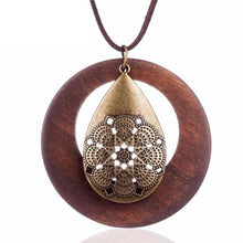 Load image into Gallery viewer, Wooden Pendants Geometric Pattern Metal Tear Drop